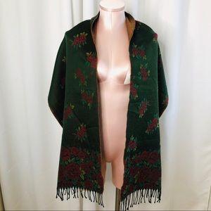 Green/Red Rose Fringe Blanket Scarf